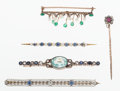Estate Jewelry:Brooches - Pins, Antique Multi-Stone, Diamond, Platinum, Gold, Silver Pins. ... (Total: 5 Items)