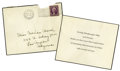 "Movie/TV Memorabilia:Memorabilia, Norma Shearer Thank You Note to Marian Marsh. A sad piece of trueGolden Age Hollywood history: a 4"" x 5"" black-bordered ca...(Total: 1 Item)"