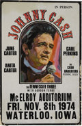 Music Memorabilia:Posters, Johnny Cash McElroy Auditorium Concert Poster (1974). Johnny Cashand the Tennessee Three are spotlighted in this poster, w...(Total: 1 Item)