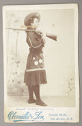 Photography:Cabinet Photos, WILD WEST FEMALE PERFORMER MAY MACKEY 1890sThis great photograph ofWild West performer May Mackey. She is wearing a Wild We... (Total:1 Item)