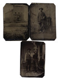 Photography:Tintypes, LOT OF THREE WESTERN COWBOY IMAGES - 1/6TH PLATE TINTYPES - ca. 1875-85. A Native American cowboy image highlights this lot,... (Total: 1 Item)