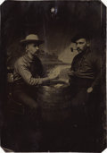 "Photography:Tintypes, OVERSIZED HALF-PLATE OF TWO GAMBLERS, ca 1870s. Unusual 4.5"" x 6.5""tintype. This staged gambling scene was captured by an u... (Total:1 Item)"