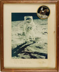 "Autographs:Celebrities, Buzz Aldrin Large Signed Color Apollo 11 Photograph, 10.75"" x13.75"", matted to 15"" x 18.5"". Inscribed on mat ""To Joe Gari...(Total: 1 Item)"