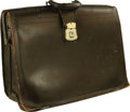 """Movie/TV Memorabilia:Props, """"Perry Mason"""" Prop Briefcase. An olive-colored leather briefcase used by an unknown performer on the classic TV series that ... (Total: 1 Item)"""