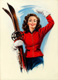 Pin-up and Glamour Art, HOWARD CONNOLLY (American, b. 1903). Jan Loves Skiing, Love Book magazine cover, circa January 1940s. Oil on canvas. 30....