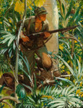 Illustration, HAROLD VON SCHMIDT (American, 1893-1982). Soldier in theJungle, 1943. Oil on canvas. 40 x 30 inches (101.6 x 76.2 cm)....