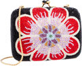 Luxury Accessories:Bags, Judith Leiber Full Bead Black & Red Crystal Mini FloralMinaudiere Evening Bag . ...