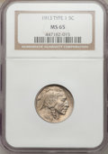 Buffalo Nickels: , 1913 5C Type One MS65 NGC. NGC Census: (2413/1513). PCGS Population(3322/2271). Mintage: 30,993,520. Numismedia Wsl. Price...