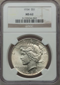 Peace Dollars: , 1934 $1 MS62 NGC. NGC Census: (859/3232). PCGS Population(968/4389). Mintage: 954,057. Numismedia Wsl. Price for problemf...