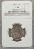 Seated Quarters: , 1891-S 25C XF45 NGC. NGC Census: (5/168). PCGS Population (8/186).Mintage: 2,216,000. Numismedia Wsl. Price for problem fr...