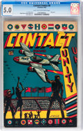 Golden Age (1938-1955):Miscellaneous, Contact Comics #8 (Aviation Press, 1945) CGC VG/FN 5.0 Light tan to off-white pages....