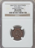 Civil War Patriotics, 1864 Union For Ever MS64 Brown NGC. Fuld-51/342a....