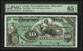 Canadian Currency: , Toronto, ON- The Dominion Bank $10 January 2, 1888 Ch. # 220-12-06Sgr Specimen. ...