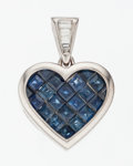 Estate Jewelry:Pendants and Lockets, Sapphire, Diamond, White Gold Heart Pendant. ...