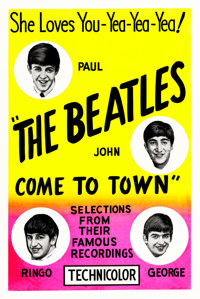 "The Beatles Come to Town (Pathé, 1963). One Sheet (28"" X 42"") Day-Glo Silk Screen Style"