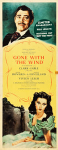 "Movie Posters:Academy Award Winners, Gone with the Wind (MGM, 1939). Insert (14"" X 36"") Roadshow.. ..."
