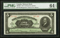 Canadian Currency: , Montreal, PQ- The Molsons Bank $5 July 3, 1922 Ch. # 490-40-02. ...