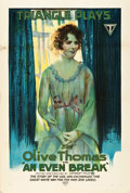 """Movie Posters:Comedy, An Even Break (Triangle, 1917). One Sheet (27"""" X 41"""").. ..."""