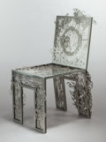 Furniture : Continental, Tjep.: FRANK TJEPKEMA (Belgian, b. 1970) and others. Chair oftextures, 2006, Droog. Laser cut stainless steel. 40-1/2 x...