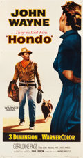 "Movie Posters:Western, Hondo (Warner Brothers, 1953). Three Sheet (41.25"" X 78"") 3-D Style.. ..."