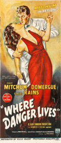 "Movie Posters:Film Noir, Where Danger Lives (RKO, 1950). Australian Daybill (13"" X 30"")....."