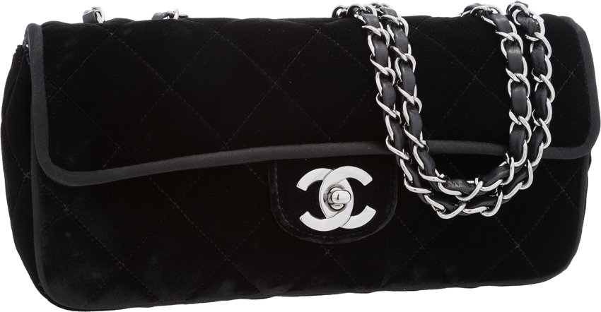 e013ea180e8c Chanel Black Quilted Velvet East-West Flap Bag with
