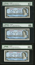 Canadian Currency: , BC-39bA $5 1954 Replacement Notes *V/S Prefix. ... (Total: 3 notes)