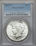 Peace Dollars: , 1935-S $1 MS64+ PCGS. PCGS Population (1401/782). NGC Census:(887/485). Mintage: 1,964,000. Numismedia Wsl. Price for prob...