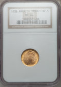 Commemorative Gold: , 1926 $2 1/2 Sesquicentennial MS64 NGC. NGC Census: (2788/1247).PCGS Population (4194/2032). Mintage: 46,019. Numismedia Ws...