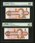 "Canadian Currency: , BC-55b $2 1986 with ""Radar"" Serial Number 5535355. BC-55b-i $2 1986. BC-55b-i $2 1986 with Fancy Serial Number. BC... (Total: 4 notes)"