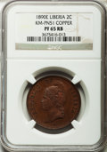Liberia, Liberia: Republic copper Proof Pattern 2 Cents 1890-E,...