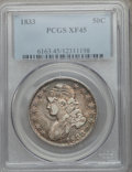 Bust Half Dollars: , 1833 50C XF45 PCGS. PCGS Population (207/1059). NGC Census:(159/1053). Mintage: 5,206,000. Numismedia Wsl. Price for probl...