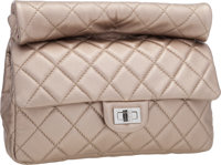 "Chanel Champagne Quilted Lambskin Leather Reissue Rolled Flap Clutch Excellent Condition 9.5"" Wid"