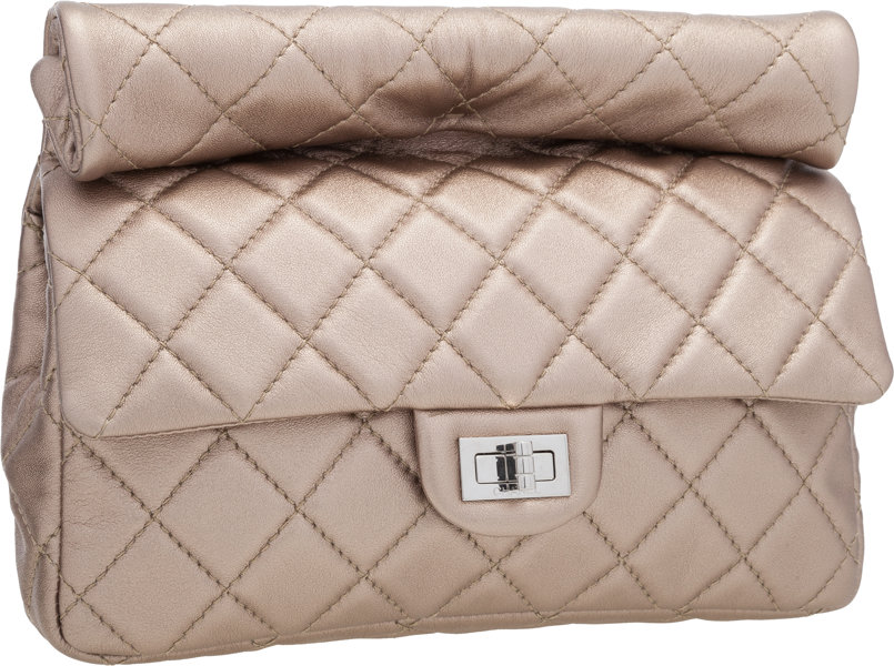 51ef66665db7 Chanel Champagne Quilted Lambskin Leather Reissue Rolled
