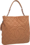 Luxury Accessories:Bags, Chanel Tan Quilted Caviar Leather Zip Around Shoulder Bag. ...