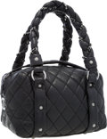 "Luxury Accessories:Bags, Chanel Black Quilted Distressed Leather Lady Braid Satchel Bag.Excellent Condition. 10"" Width x 5"" Height x 5""Depth..."