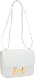 Luxury Accessories:Bags, Hermes 18cm White Epsom Leather Double Gusset Constance ShoulderBag with Gold Hardware. ...