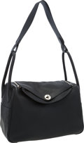 Luxury Accessories:Bags, Hermes 34cm Black Clemence Leather Lindy Bag with Palladium Hardware. ...