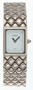 Luxury Accessories:Accessories, Chanel Stainless Steel Diamond Link Watch . ...