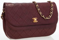 Luxury Accessories:Bags, Chanel Burgundy Quilted Lambskin Leather Flap Bag with GoldHardware. ...