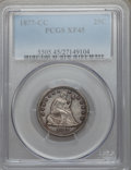 Seated Quarters: , 1877-CC 25C XF45 PCGS. PCGS Population (25/460). NGC Census:(14/388). Mintage: 4,192,000. Numismedia Wsl. Price for proble...