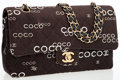 Luxury Accessories:Bags, Chanel Brown Quilted Fabric Coco Medium Double Flap Bag with Gold Hardware . ...