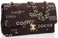 Chanel Brown Quilted Fabric Coco Medium Double Flap Bag with Gold Hardware