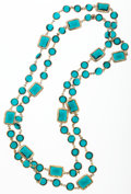 Luxury Accessories:Accessories, Chanel Gold & Green Crystal Sautoir Necklace. ...