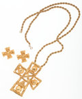 Luxury Accessories:Accessories, Christian LaCroix Set of Two; Gold Cross Necklace & Earrings....