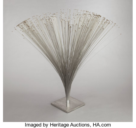 HARRY BERTOIA (American, 1915-1978) Spray, circa 1970 Stainless steel base, collar, and rods with brass beads 61-1/2 ...
