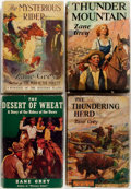 Books:Literature 1900-up, Zane Grey. SIGNED. Four First Editions in Grosset & DunlapDustjackets. Includes: The Desert of Wheat; The Mysterious R...(Total: 4 Items)