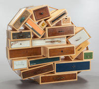 TEJO REMY (Dutch, b. 1960) Chest of drawers, 1991, Droog Used drawers, maple, jute strap 43-1/4 x
