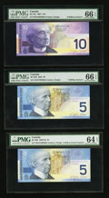Canadian Currency: , Even Million Serial Numbered $5 and $10 Notes PMG Graded. ...(Total: 3 notes)