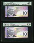 Canadian Currency: , Even Million Serial Numbered $10 Notes PMG Graded. ... (Total: 2notes)